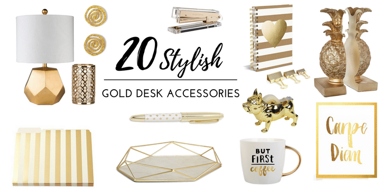 Stylish Home Office Accessories: 20 Stylish Gold Desk Accessories For Your Office