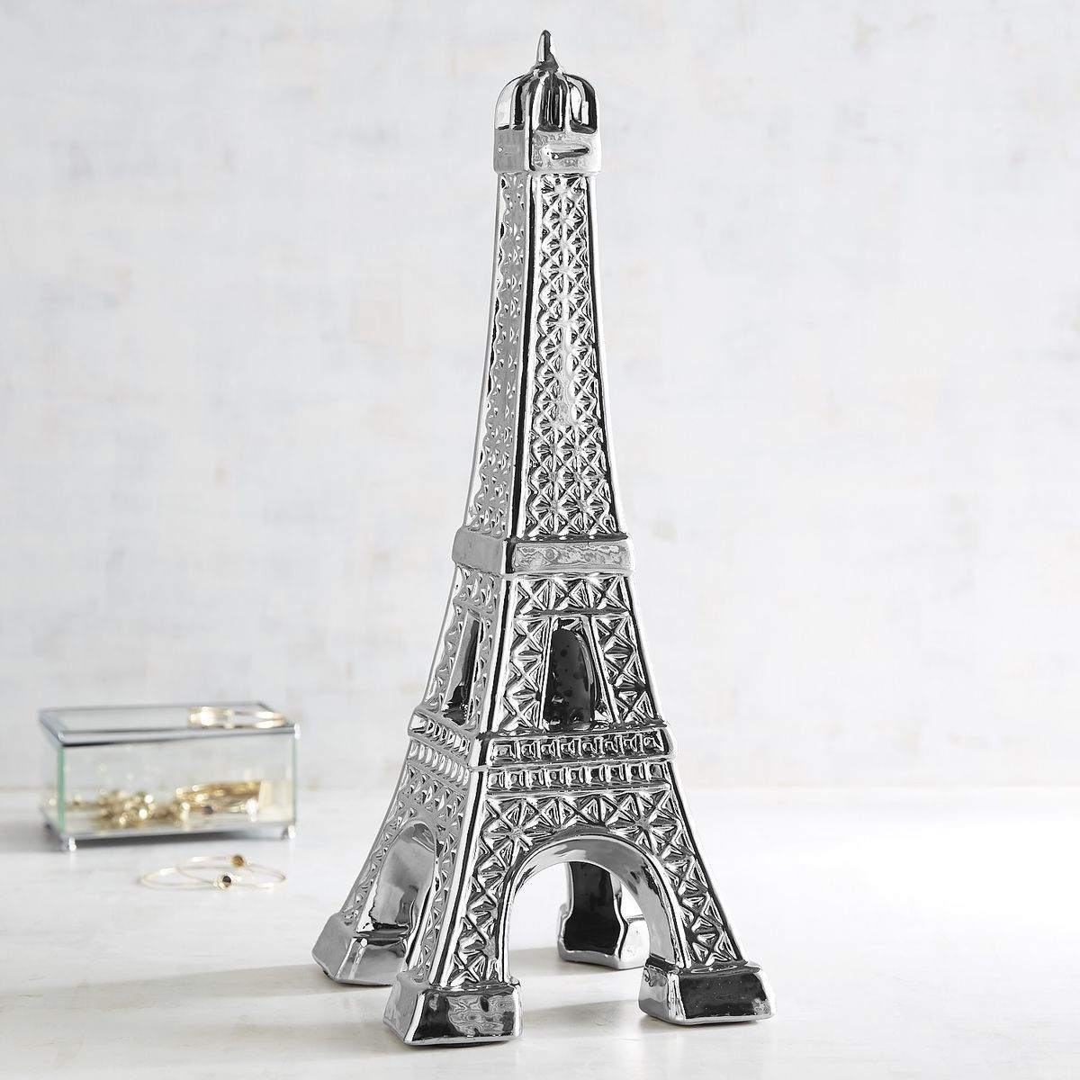 4-pier1 silver ceramic eiffel tower