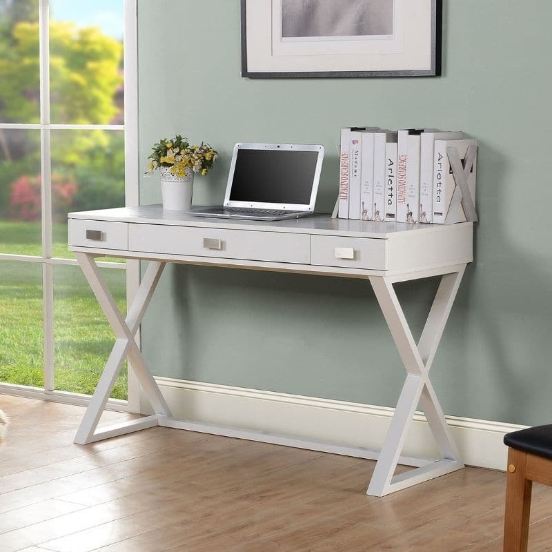 Homestar Wood & metal 3 drawer desk in White-1