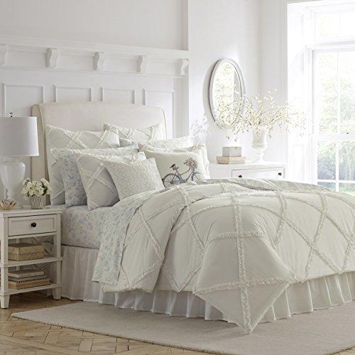Laura Ashley Adelina Ruffle Comforter Set Full Queen White