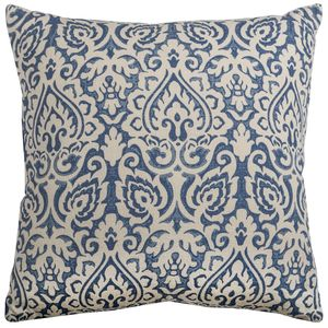 Damask Blue & Natural Throw Pillow