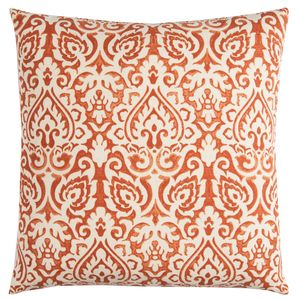 Damask Orange & Natural Pillow Cover