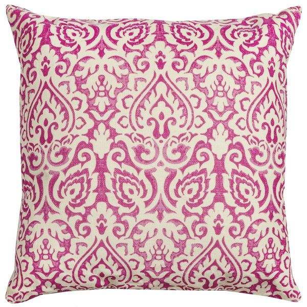 Damask Pink & Natural Pillow Cover