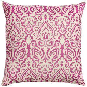 Damask Pink & Natural Throw Pillow