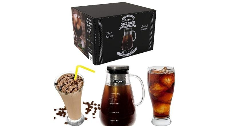 Kungroo Airtight Glass Cold Brew Iced Coffee Maker