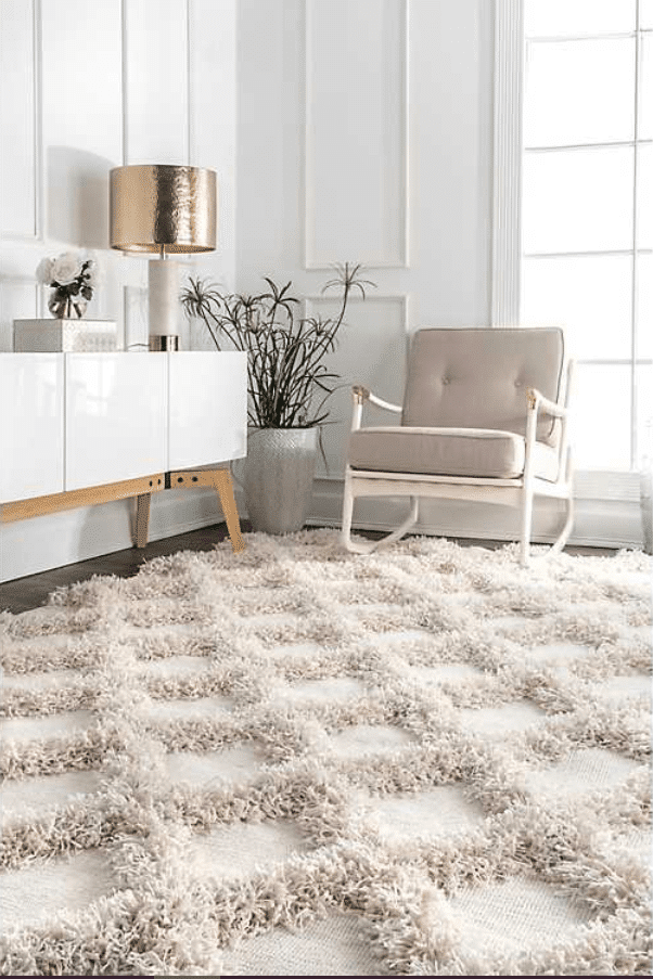 Francis-Shaggy-Diamond-Trellis-Neutral Area Rugs