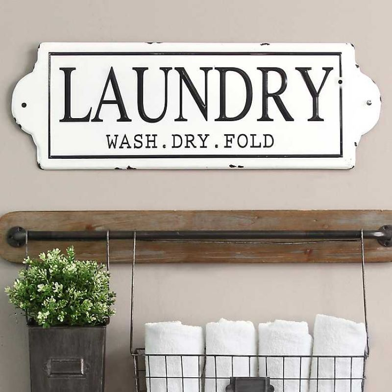 Laundry. Wash. Dry. Fold sign