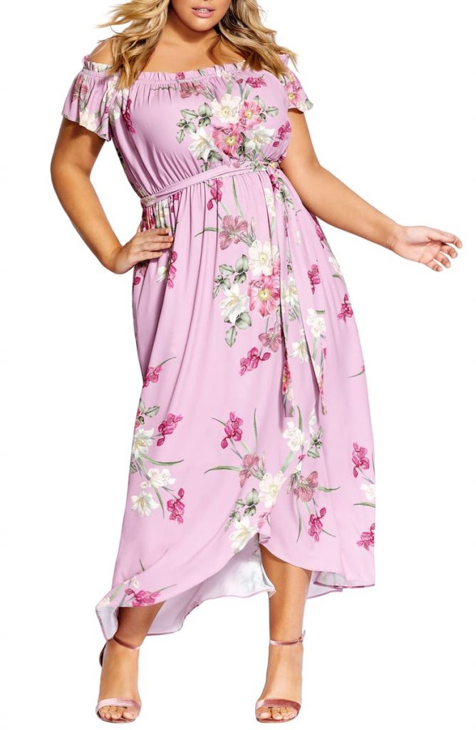 Pink Floral Maxi Dress by City Chic