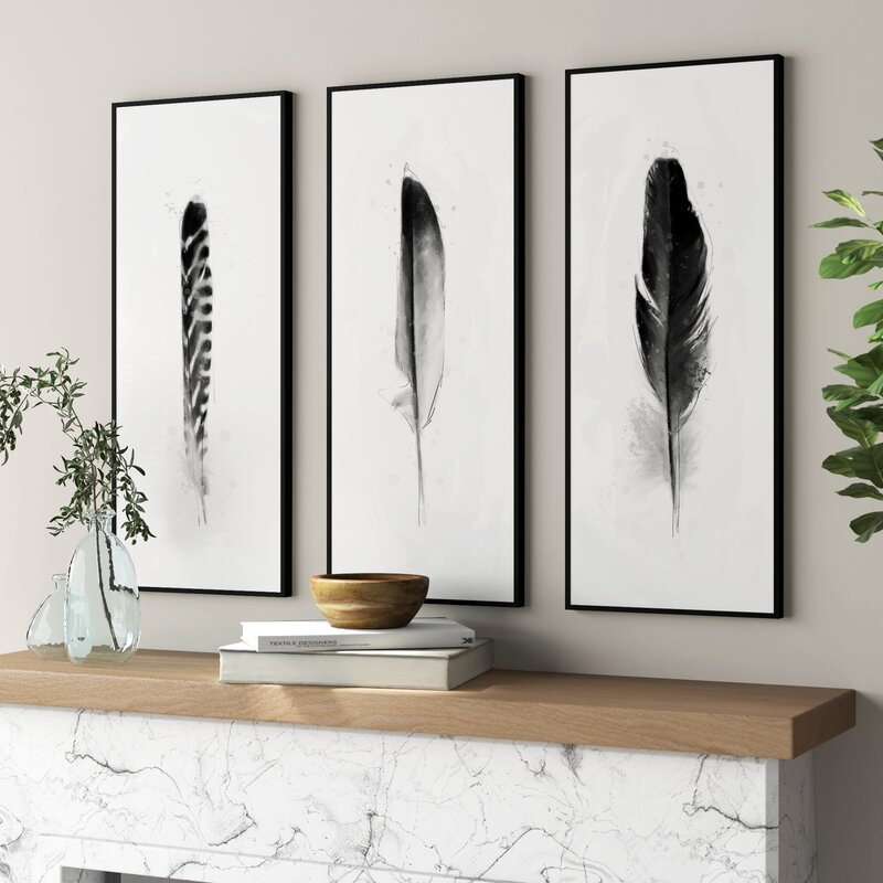 Feather framed wall art