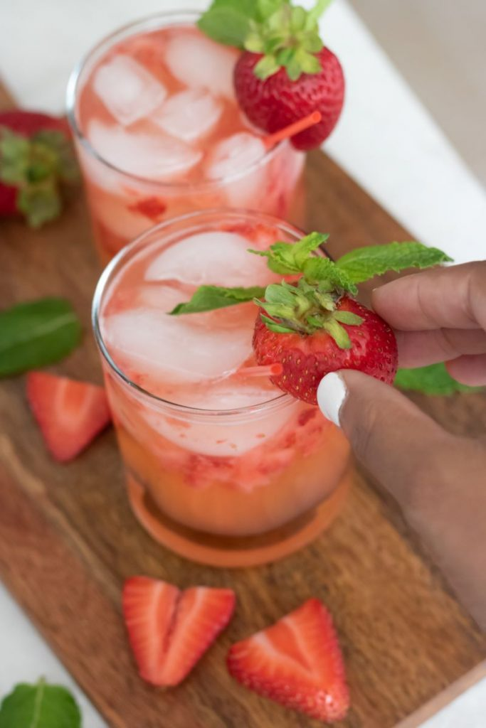 Garnishing a Strawberry Moscow Mule