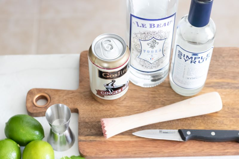 Strawberry Moscow Mule ingredients and tools