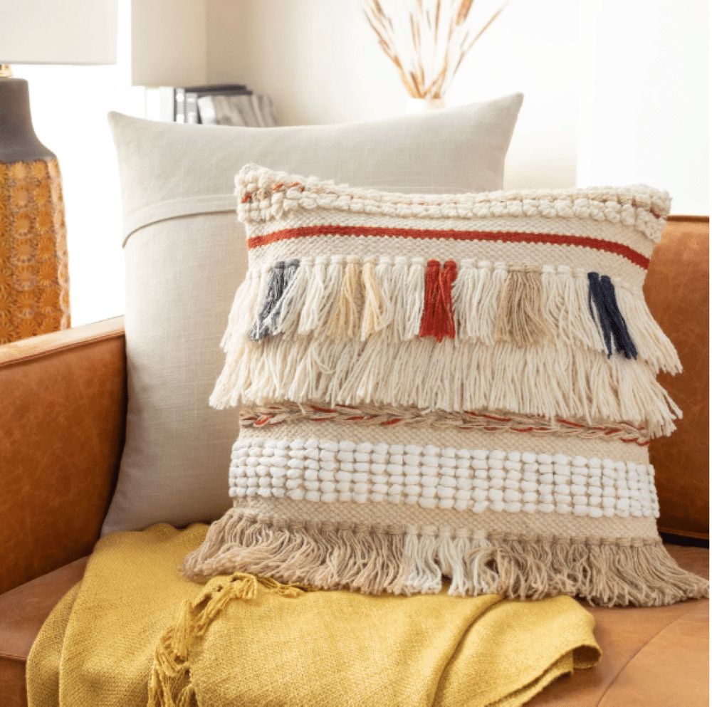 fania handwoven shag pillow