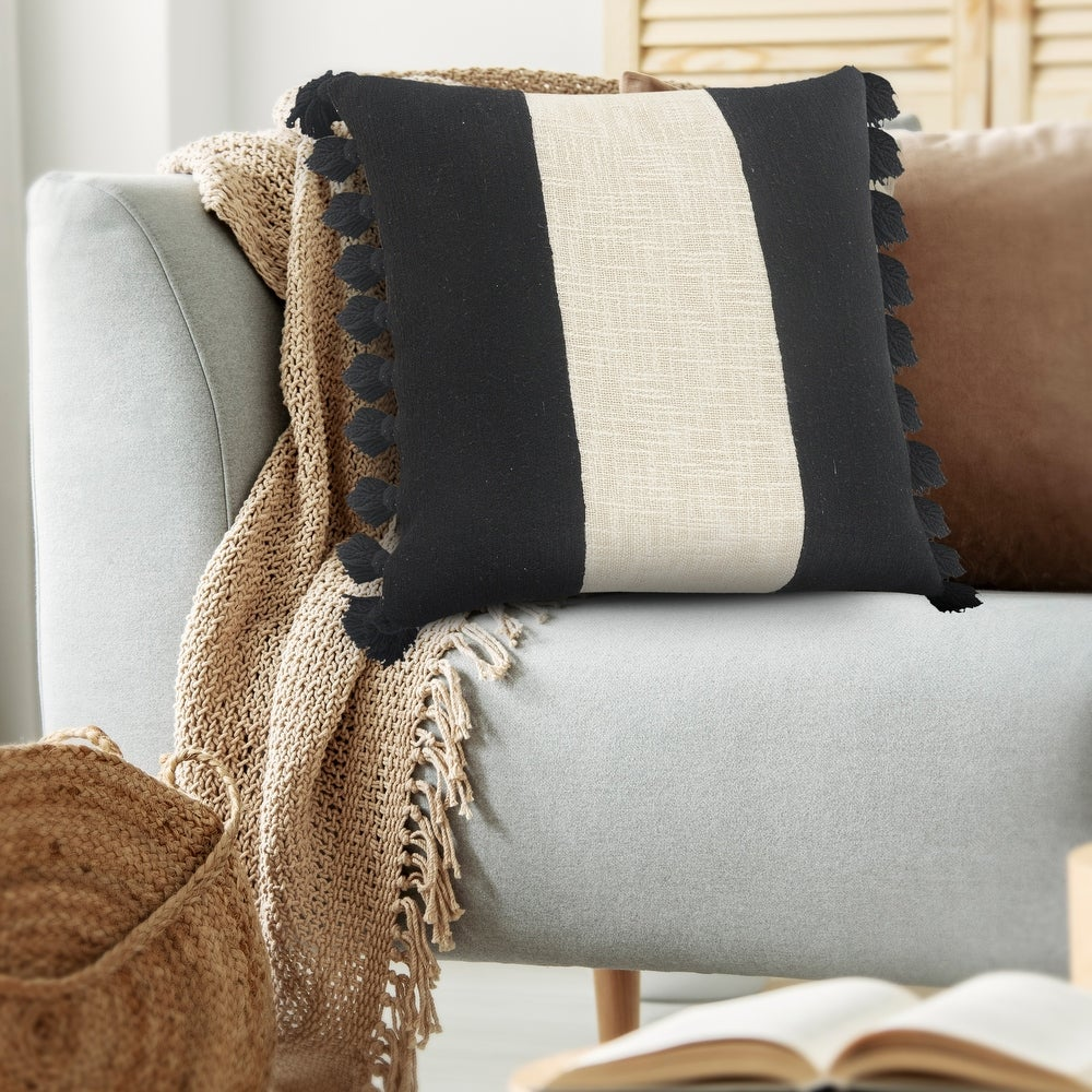 Tri-stripe black and ivory fringe pillow
